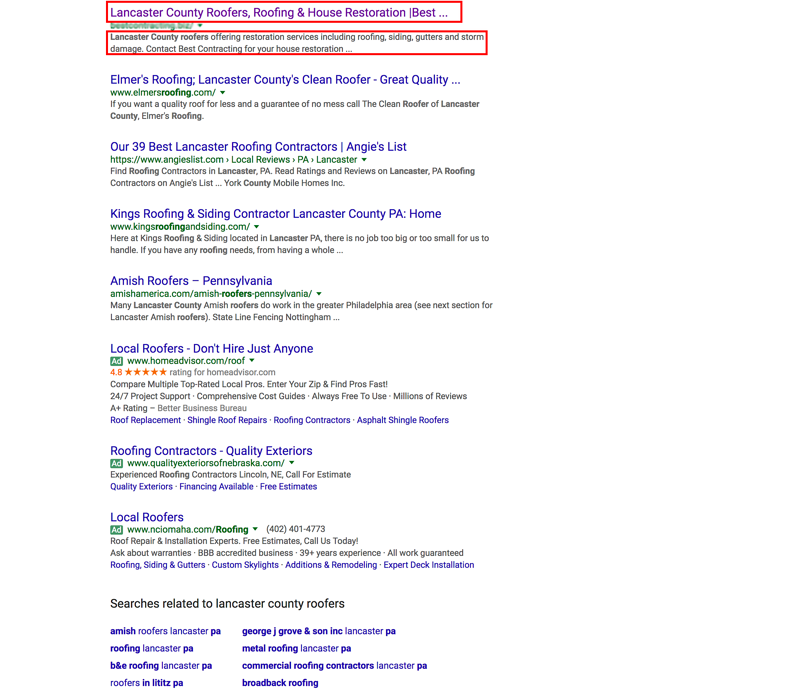 roofing google search ranking