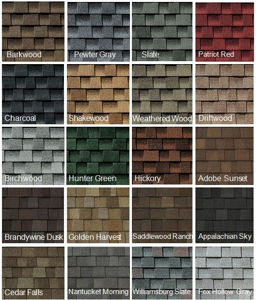 shingle color chart for roofing